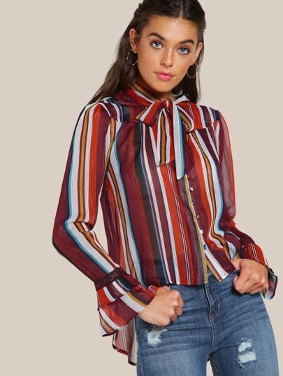 Multi Stripe Sheer Button Up Top MULTI