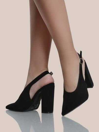 Point Toe Slingback Pumps BLACK