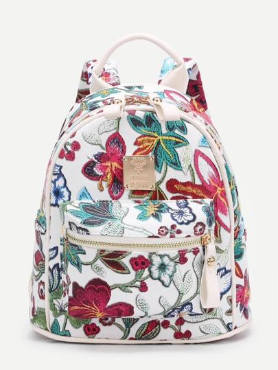 Flower Embroidered PU Backpack