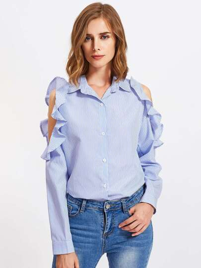 Open Shoulder Frill Trim Slit Back Stripe Shirt