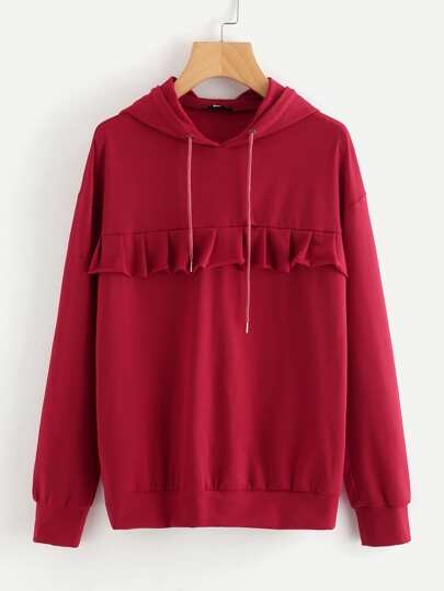 Dropped Shoulder Frill Trim Hoodie