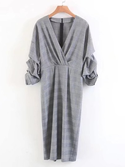 Ruched Sleeve Surplice Plaid Dress