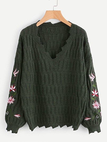Embroidered Sleeve Distressed Sweater