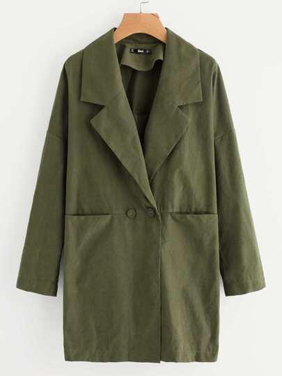 Notch Collar Drop Shoulder Dual Pocket Coat