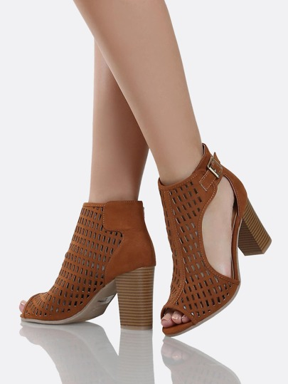 Peep Toe Cut Out Boots CHESTNUT