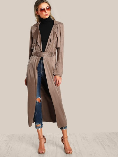 Faux Suede Long Trench Coat MOCHA