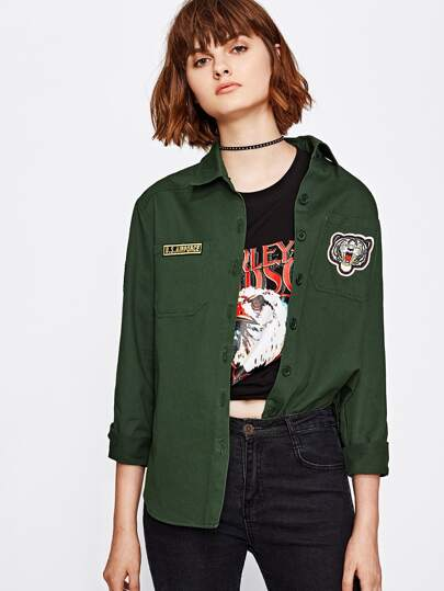 Pocket Front Embroidered Patch Detail Shirt Jacket