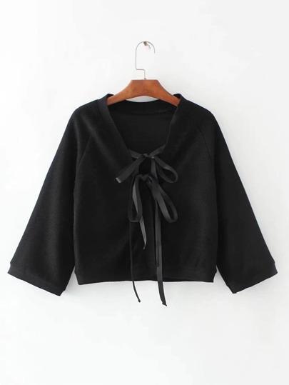 Jersey con cordón y cuello en V con manga raglán