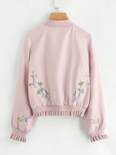 Raglan Sleeve Frill Trim Embroidered Bomber Jacket