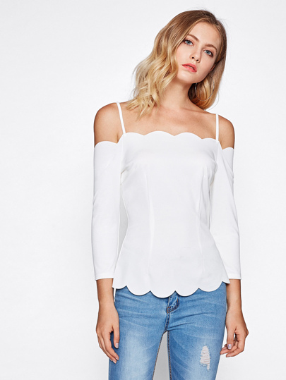 Scallop Trim Cold Shoulder Form Fitting Top