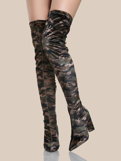 Camo Print Thigh High Boots KHAKI