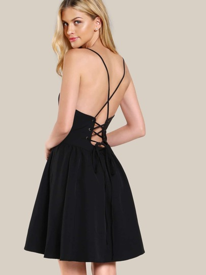 Halter Back Lace Up Dress BLACK