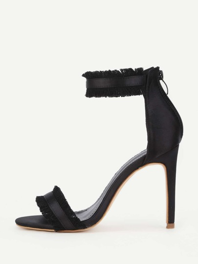 Raw Trim Detail Satin Stiletto Heeled Sandals