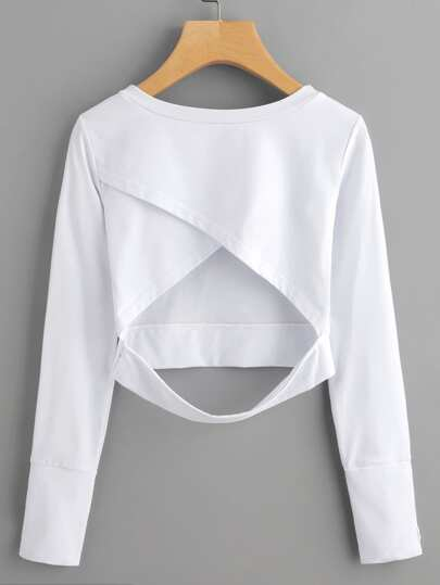 Wrap Open Back Crop Sweatshirt