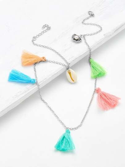 Tassel & Shell Decorated Chain Necklace