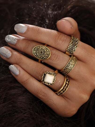 5 piezas de anillo con detalle de turquesa en multiforma