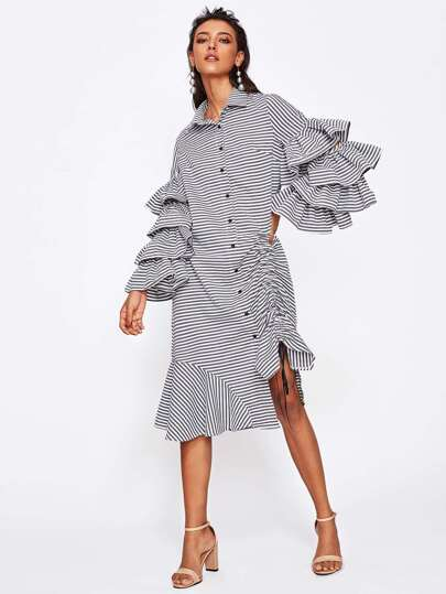 Detachable Layered Sleeve Shirred Asymmetrical Hem Shirt Dress