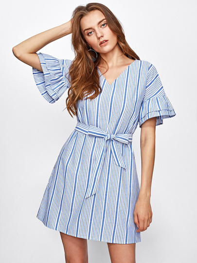V-neckline Tiered Sleeve Vertical Striped Dress