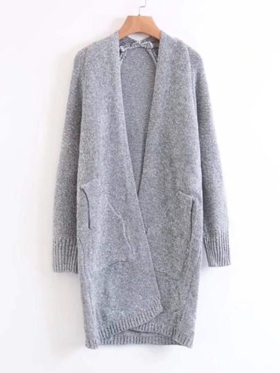 Ribbed Detail Open Front Long Cardigan