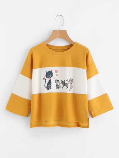 Cartoon Cat Print Slit Side High Low Tee