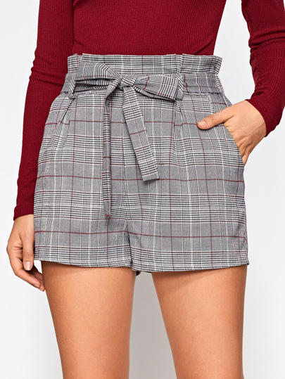 Bow Tie Ruffle Waist Tailored Check Shorts