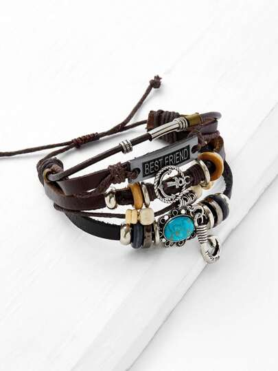 Anchor Detail Layered Adjustable Bracelet