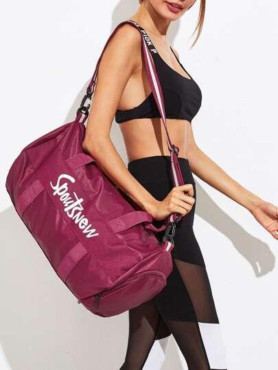 Slogan Print Nylon Gym Bag