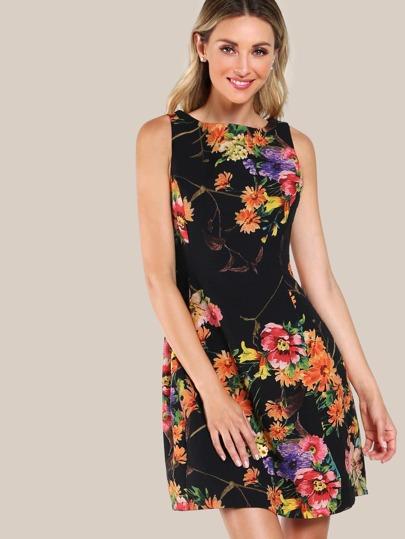 Floral Print Sleeveless Dress BLACK