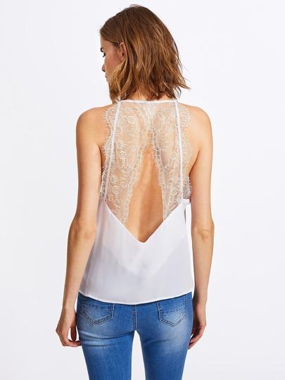 Eyelash Lace Panel Open Back Cami Top