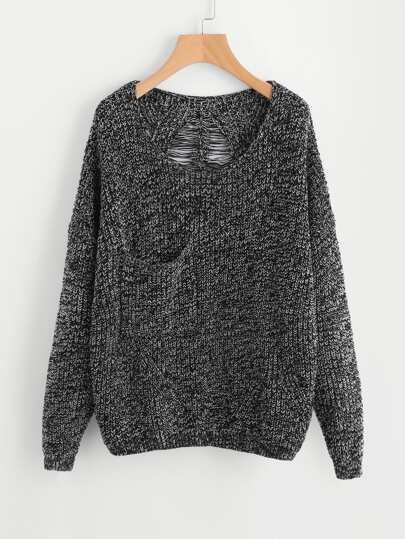 Marled Knit Laddering Back Jumper