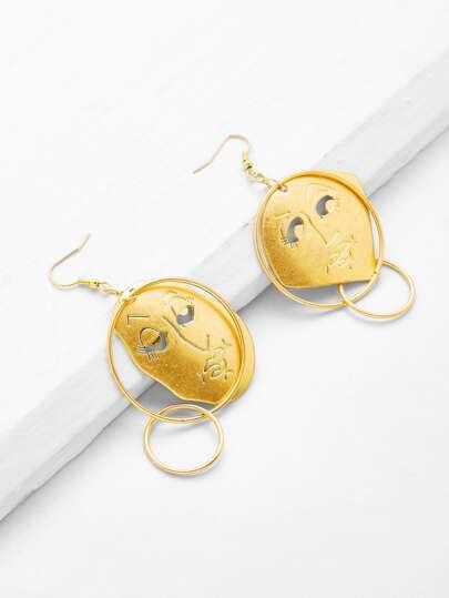 Face Design Double Hoop Drop Earrings