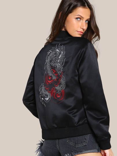 Dragon Embroidered Back Bomber Jacket