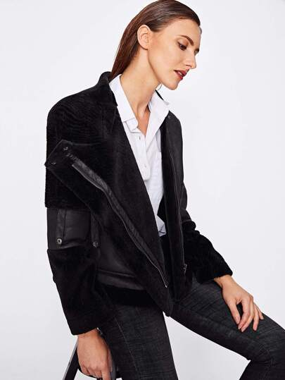 Zip Up Faux Shearling Jacket