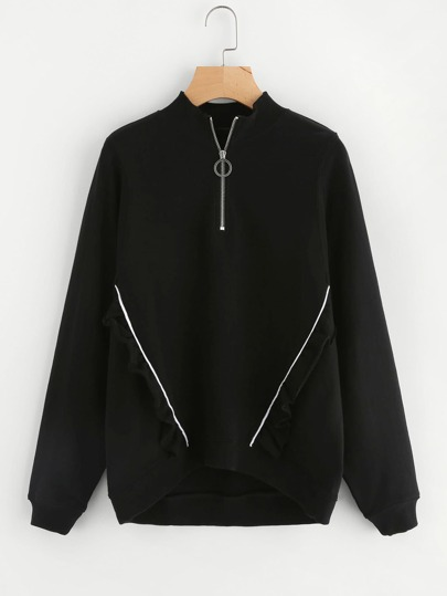 Zip Front Tipping And Frill Detail Sweatshirt