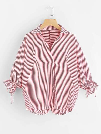 Overlap Back Tie Cuff Striped Blouse