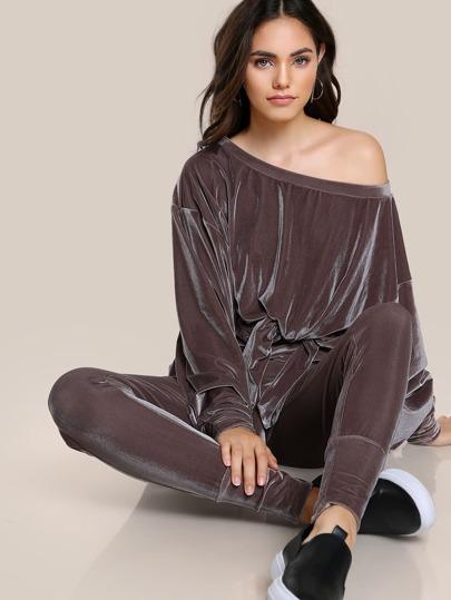 Knot Front Exaggerate Sleeve Velvet Sweatshirt