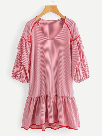 Contrast Trim Gathered Sleeve Vertical Striped Frill Hem Dress