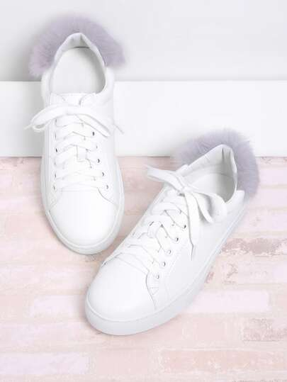 Round Toe Lace Up Sneakers With Faux Fur