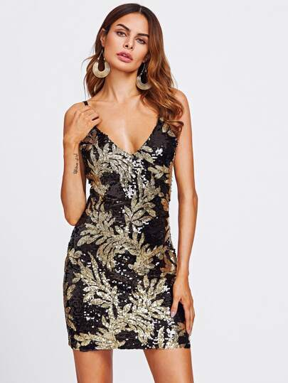 Sequin Plunge Adjustable Strap Bodycon Dress