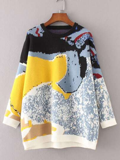 Abstract Pattern Drop Shoulder Sweater