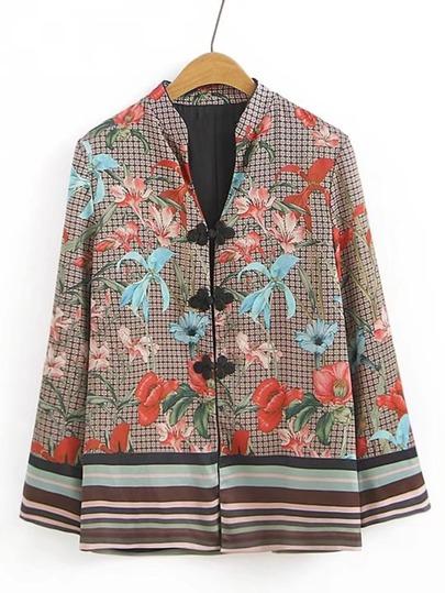 Manteau imprimé fleuri à carreaux avec des boutons