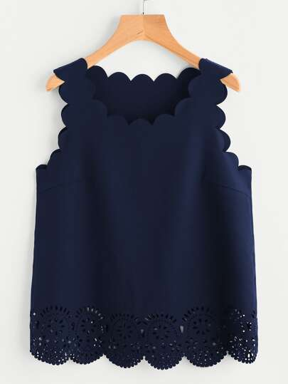 Scallop Edge Laser Cut Shell Top
