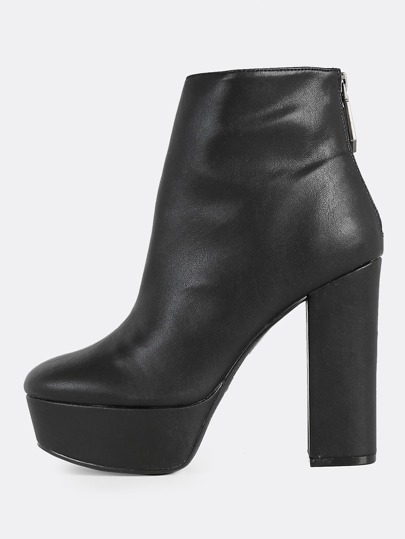 Solid Platform Heeled Boots BLACK