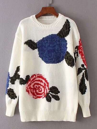 Flower Print Drop Shoulder Seam Sweater