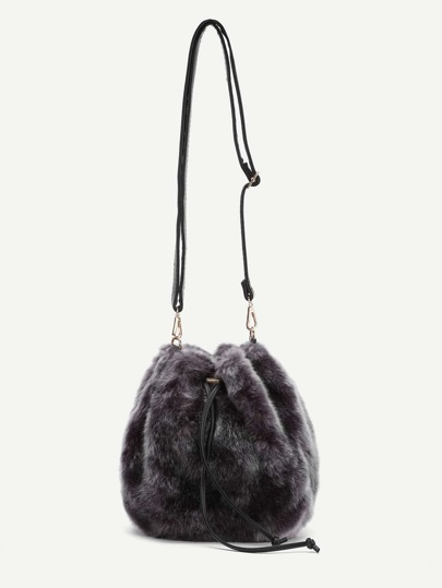 Faux Fur Overlay Shell Shaped Shoulder Bag