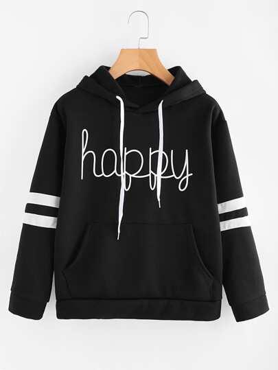 Sudadera con capucha con letras y rayas