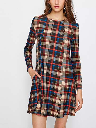 Hidden Pocket Side Checkered Trapeze Dress