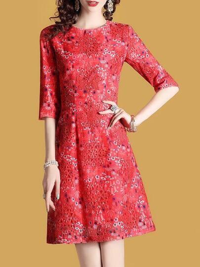 Crochet Hollow Out Floral Dress