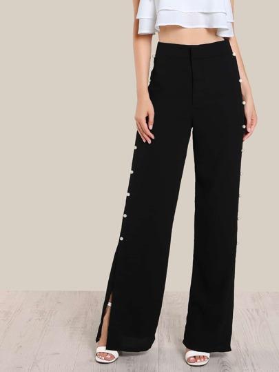 Pearl Embellished Dress Pants BLACK