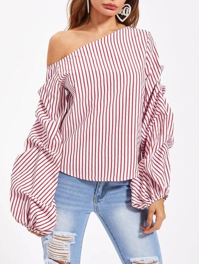 Asymmetric Shoulder Gathered Lantern Sleeve Top